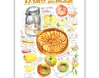 Apple pie recipe print, Kitchen art, French kitchen decor, Watercolor print, Food artwork, Food illustration, Kitchen art, Apple pie poster