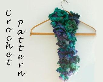 Ruffle Scarf Crochet Pattern, Crochet Scarf Pin Pattern, Instant Download, PDF Pattern, Ruffled Scarf Pattern