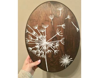Dandelion Blowing in the Wind   Stained Wood   Home Decor