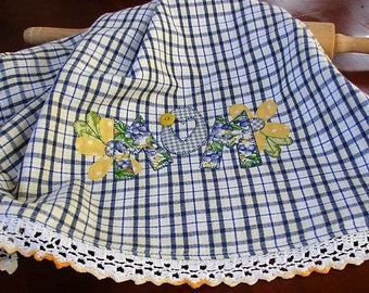 Mothers Day Gift - Gift for MOM - Gift for Her - Blue Yellow Check - Spring Kitchen Decor Accessory - Farmhomse Style - Cotton Tea Towel
