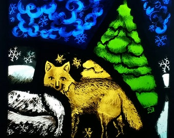 Fox, winter, greeting card, snow scene, stained glass, Christmas, solstice, yule, blank, good luck, congratulations