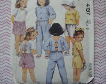 vintage 1980s McCalls sewing pattern 4137 Girls' top skirt pants and shorts size 6