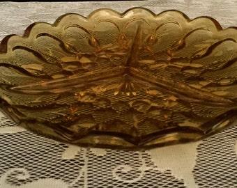 Amber Glass Divided Relish Dish                       VG1537