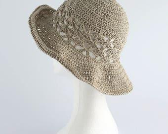 Cotton hat, linen hat, spring summer hat, cotton, beach hat, crocheted hat, 100% HAND MADE