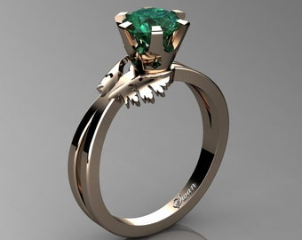 Swan 14K Rose Gold 1.0 Ct Emerald Fairy Engagement Ring R1030-14KRGEM