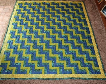 KING QUILT - Custom Made Quilt - King Size Quilt - Rail Fence Quilt - Supply Your Own Fabrics - Full Payment