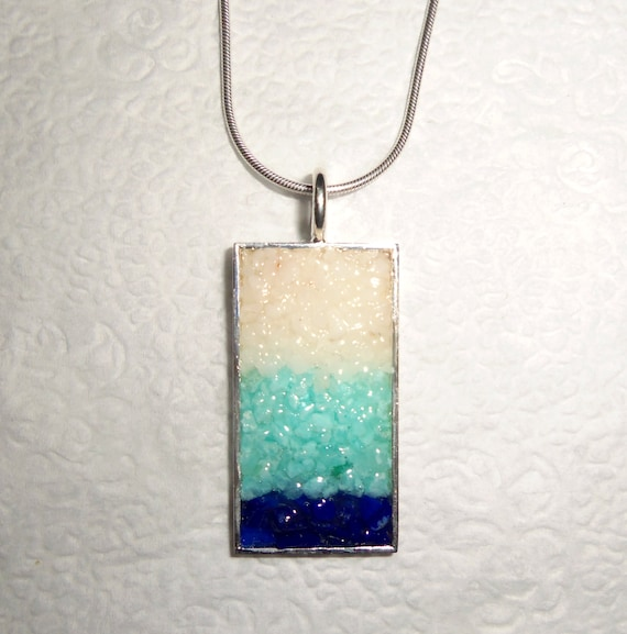 Gemstone Chip Pendant with Chain Lapis Lazuli Blue Aragonite White Agate Silver
