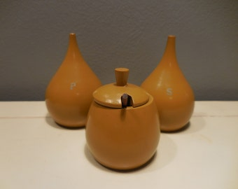 Vintage Painted Wooden Tear Drop Mustard/ Condiment Salt Pepper Set