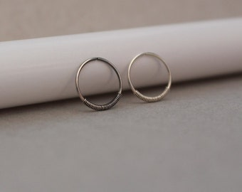 Tiny Hoop. Nose Ring. Sterling Silver Nose Ring. Spring Nose Ring. Tiny Nose Ring Stud. 24 to 18 Gauge. 5 to 12 mm Diameter. Dainty Hoop.