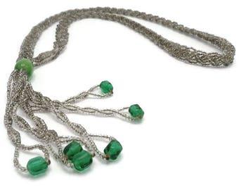Flapper Tassel Necklace Green Art Glass Braided Seed Bead