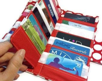 Credit Card Wallet, 38 Credit Card Holder, Loyalty Card Organizer Polka Dot Card Wallet, Womens Card Wallet