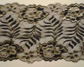 "Beautiful 7"" Black  and Yellow  Stretch Lace"