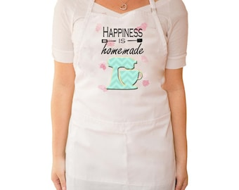 """Baking Apron """"Happiness is homemade"""" with teal mixer and pink flowers in background"""