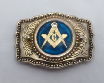 Vintage Freemason Metal Belt Buckle with Square and Compass Masonic Seal - Fraternal, freemasons, secret society