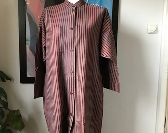 Vintage Marimekko Tunic or Dress / Brown with Stripes / Size Small, fits Small - Medium - Large / 1980s Finland