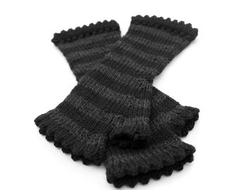 KNITTING PATTERN ONLY - Salem Striped Fingerless Mittens with Picot Eyelet Trim