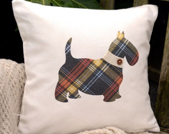 """HALF PRICE! Scottie Dog Cushion - Tartan & Choice of Collar, """"The Scotties of McDawg"""" Collection, Tamsin Reed Designs"""
