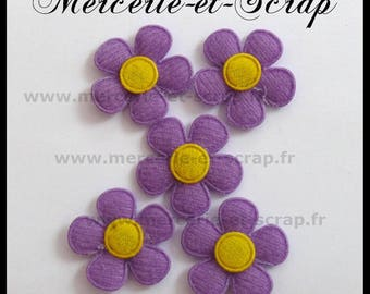 LOT 5 25mm yellow felt heart 93 purple embellishment flowers