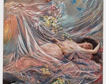 ILLUSTRATED Angel Covers Sleeping BEAUTY with ETHEREAL Veil Original Vintage Italian Postcard