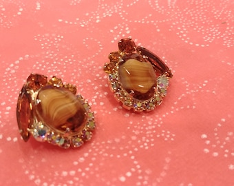 Vintage Juliana (DeLizza and Elster) Glass Tigerseye and Rhinestone Earrings