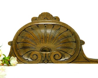 19th Century Antique Carved Wood Shell and Scroll Pediment Architectural Element
