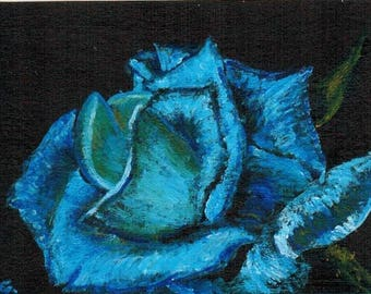 ACEO - Blue Rose an original painting