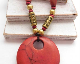 Retro Long Asian Style Simulated Red Jasper Gold Bead Pendant Necklace U36