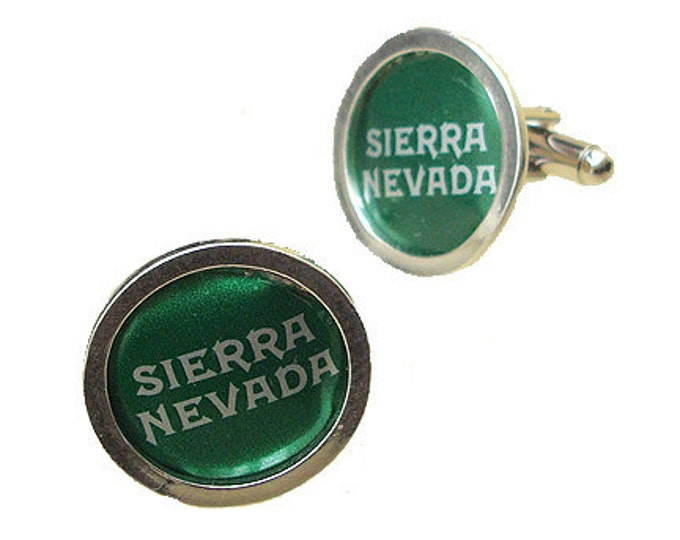 SIERRA NEVADA Cuff Links of Bottle Cap / Sterling Silver cuff