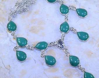 Necklace - ref9835 - Silver - set with green agates - 51cm approx.