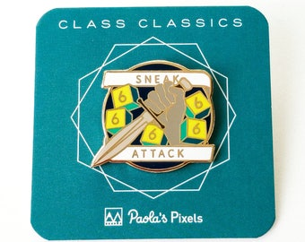 Sneak Attack Dungeons and Dragons Pin, Rogue pin, Dnd Enamel Pin, d20 Pin, Tabletop RPG pin, Dungeon Master Gift, D&D pin, Dnd Dice pin