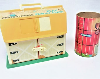 Fisher Price 1967 Barn and 1968 Silo Collectible Childrens Toy