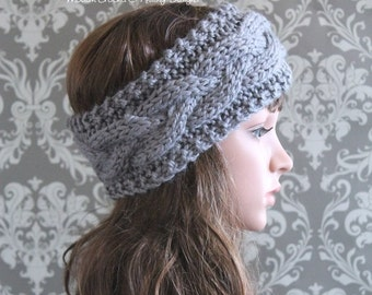 Knitting PATTERN - Cable Knit Headband Pattern - Knitting Pattern Hat - Baby, Toddler, Child, Adult Regular, Adult Large Sizes - PDF 407