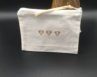 Pouch or makeup fabric ecru diamond pattern
