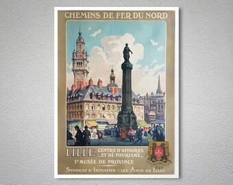 Lille Centre d'Affaires et de Tourisme Vintage Travel Poster - Poster Paper, Sticker or Canvas Print / Gift Idea