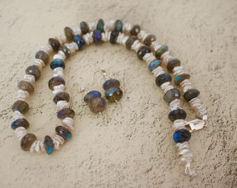 Beautiful Handmade Genuine Labradorite and White Keshi Pearl in Sterling Silver Necklace with Matching Earrings.