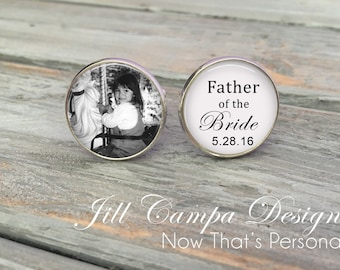 Father of the Bride - cufflinks, Custom Photo Cuff Links - Silver Wedding Cufflinks - Picture Cuff Links - Father of the bride cuff links