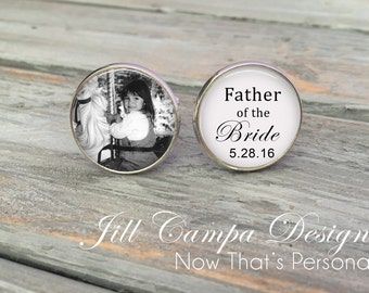 Father of the Bride - Father of the bride Cufflinks - Custom Photo Cuff Links for Dad