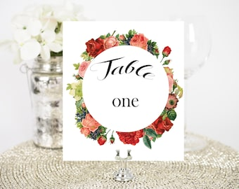 Floral Wedding Table Numbers. Instant Download. 1-10.