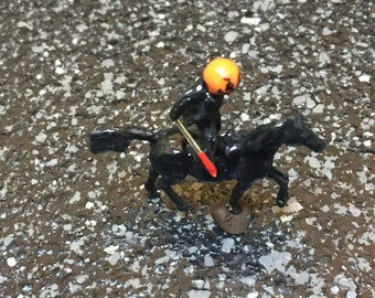 Tiny Headless Horseman with pumpkin head bloody sword and black horse in HO Scale Perfect for Planter or Terrariums