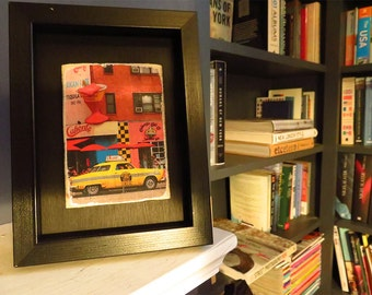 New York Cab - photograph printed onto  wood.NYC taxi cab. New York Print