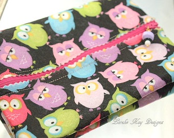 Colorful Owls Felt Zipper Pouch Cosmetic Makeup Bag Jewelry Bag Clutch Stocking Stuffer Lorelie Kay Designs