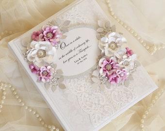 Lace photo album , lace wedding album , wedding photo album, personalised wedding gift, bride to be gift, purple wedding, purple and silver