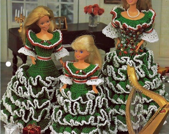Miss Holly Dresses Crochet Pattern Annies Fashion Doll Crochet Club FCC04-01