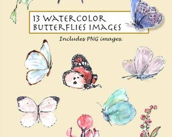 CLIP ART- Watercolor Butterflies Set. 13 Images. Digital Download. Flower. Garden. Nature.