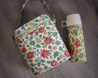 Thermos Soup Coffee Container Set 2 Flowers Mod Print Carry Case