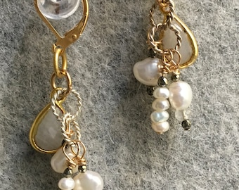 moonstone, pearl and pyrite dangle earrings