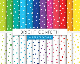 Bright Confetti digital paper, dots, dotted, party, white dots, colored dots, brights, rainbow colors, scrapbook papers (Instant Download)