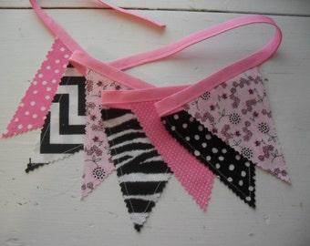 2 Mini Bunting Banners,  Pink, Black Mini Fabric Banners