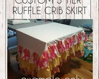 Custom 3 Tier Ruffle Crib Skirt