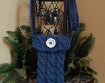 DIY - Knitting PATTERN #46: Cable Knit Cell Phone Purse/Case with strap, Smart Phone, iPhone, iPhone 6, iPhone 6 + and more!  - PDF Pattern